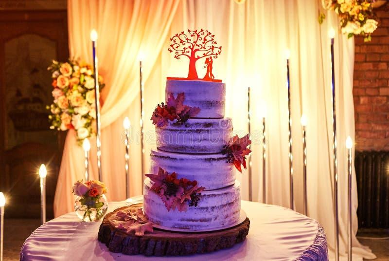 在白色口气的婚姻的欢乐多层的蛋糕 库存照片