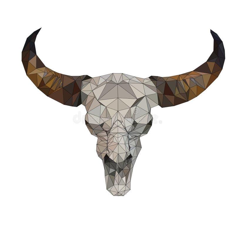 在白色后面地面,动物几何概念,抽象传染媒介的被隔绝的低多水牛头骨 向量例证