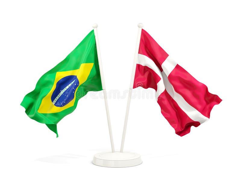 在白色和丹麦的隔绝的两面挥动的旗子巴西 库存例证