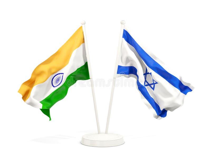 在白色和以色列的隔绝的两面挥动的旗子印度 向量例证