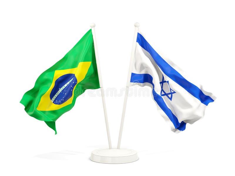 在白色和以色列的隔绝的两面挥动的旗子巴西 库存例证