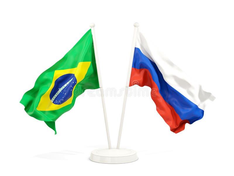 在白色和俄罗斯的隔绝的两面挥动的旗子巴西 向量例证