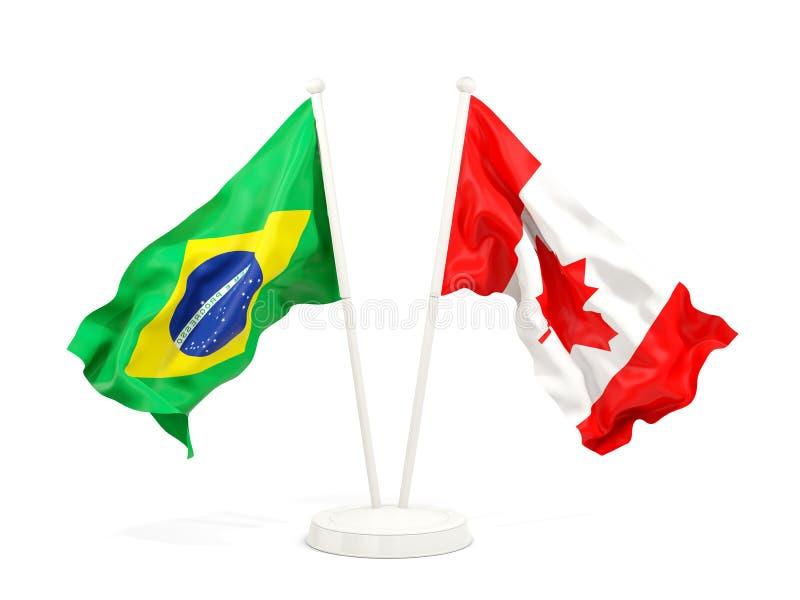 在白色和加拿大的隔绝的两面挥动的旗子巴西 向量例证