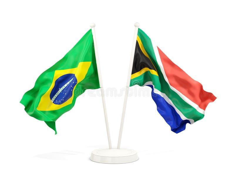 在白色和南非的隔绝的两面挥动的旗子巴西 库存例证