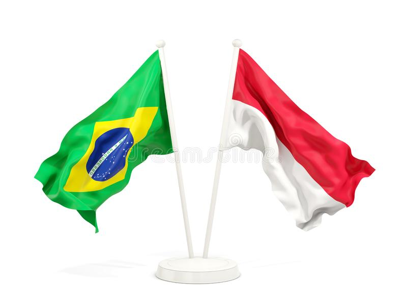 在白色和印度尼西亚的隔绝的两面挥动的旗子巴西 向量例证