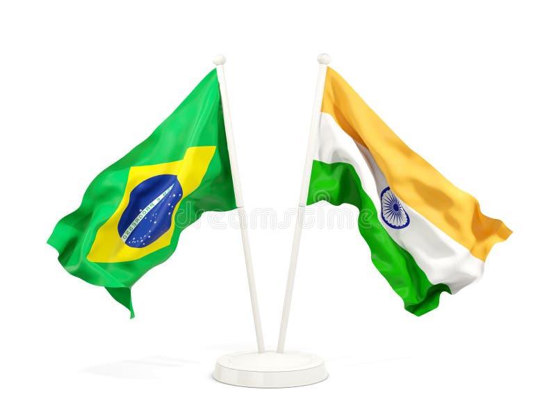 在白色和印度的隔绝的两面挥动的旗子巴西 库存例证