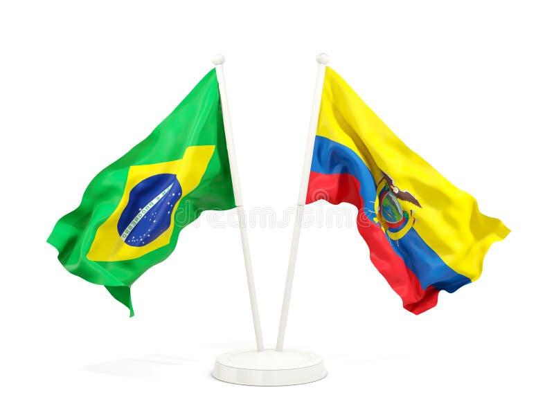在白色和厄瓜多尔的隔绝的两面挥动的旗子巴西 库存例证