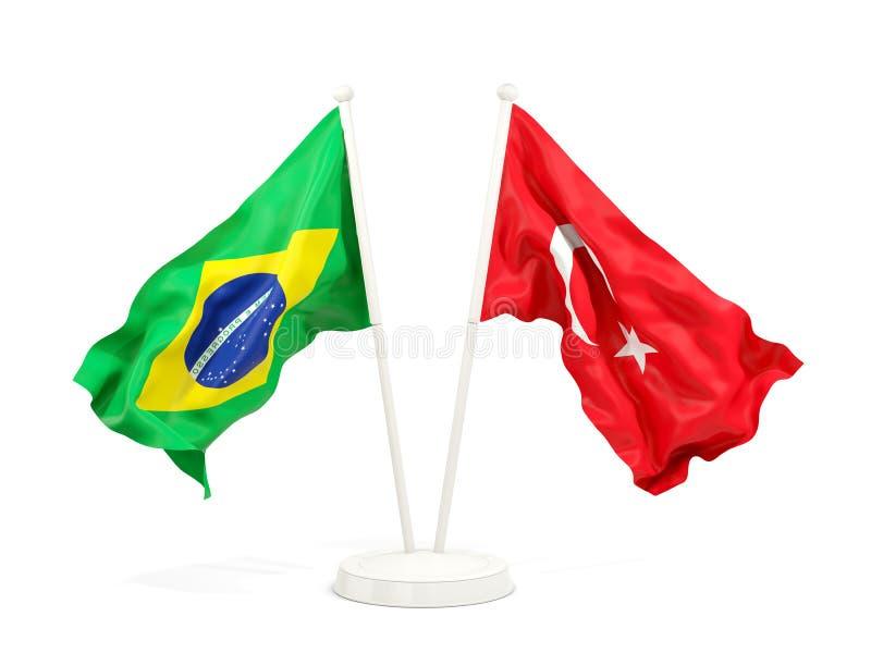 在白色和土耳其隔绝的两面挥动的旗子巴西 库存例证
