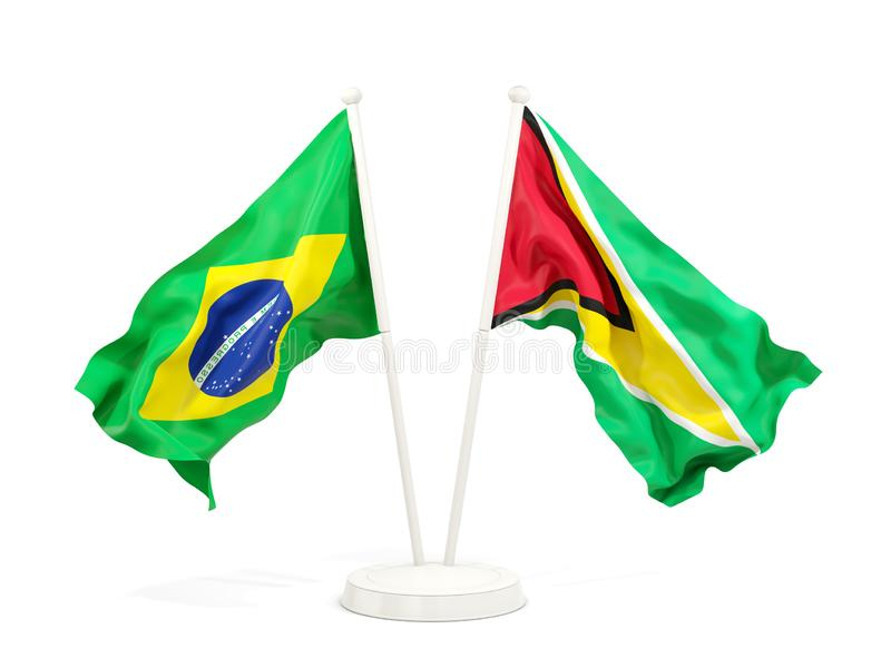 在白色和圭亚那的隔绝的两面挥动的旗子巴西 库存例证