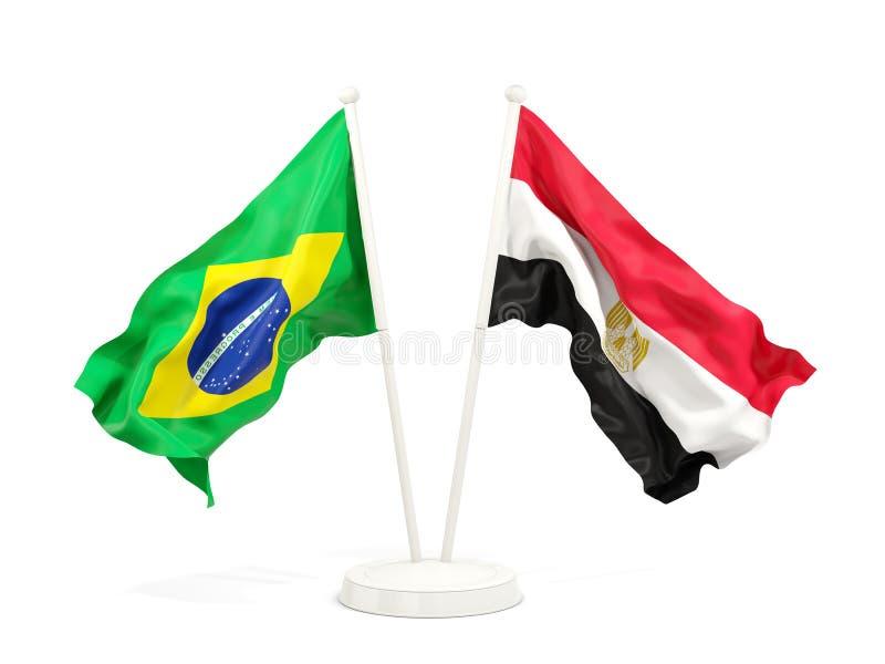 在白色和埃及的隔绝的两面挥动的旗子巴西 向量例证