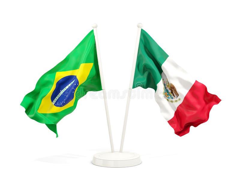 在白色和墨西哥的隔绝的两面挥动的旗子巴西 皇族释放例证