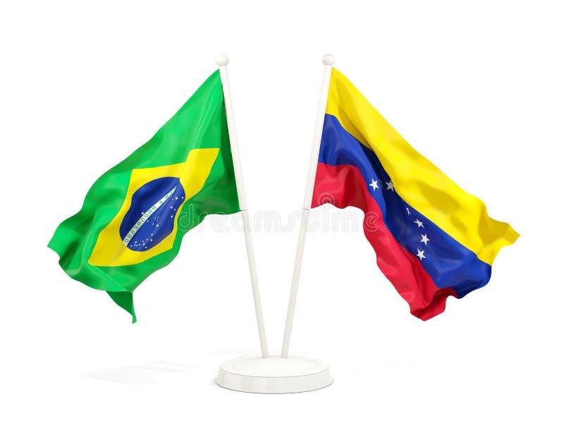 在白色和委内瑞拉的隔绝的两面挥动的旗子巴西 库存例证