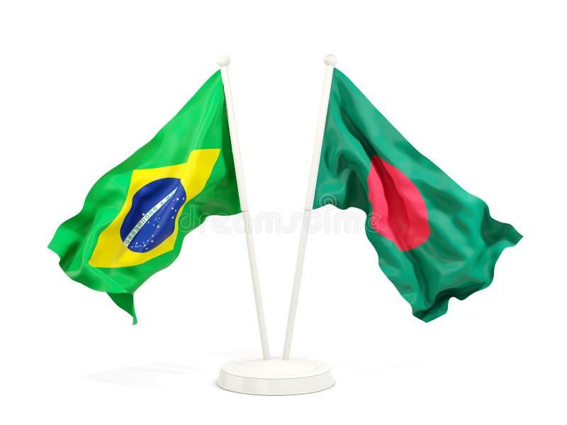 在白色和孟加拉国的隔绝的两面挥动的旗子巴西 皇族释放例证