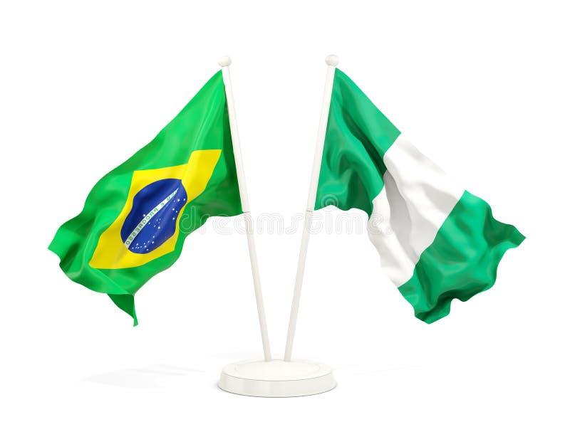 在白色和尼日利亚的隔绝的两面挥动的旗子巴西 库存例证