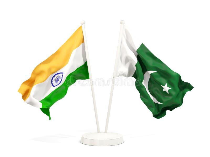 在白色和巴基斯坦的隔绝的两面挥动的旗子印度 向量例证