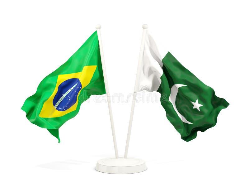 在白色和巴基斯坦的隔绝的两面挥动的旗子巴西 向量例证