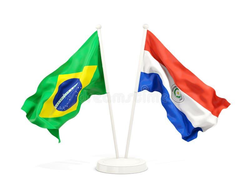 在白色和巴拉圭的隔绝的两面挥动的旗子巴西 皇族释放例证