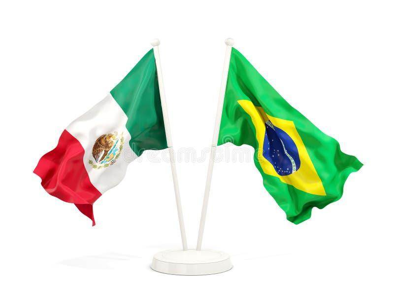 在白色和巴西的隔绝的两面挥动的旗子墨西哥 库存例证