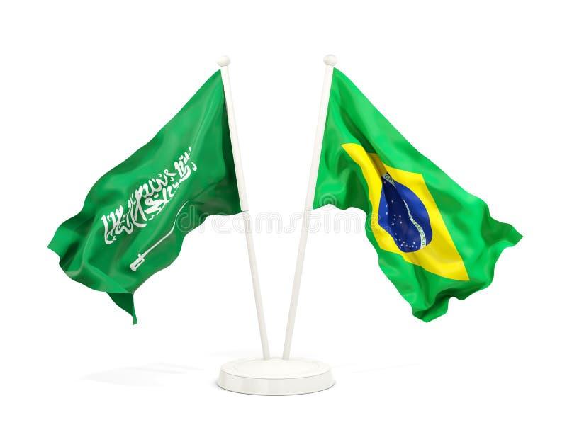 在白色和巴西的隔绝的两面挥动的旗子沙特阿拉伯 向量例证