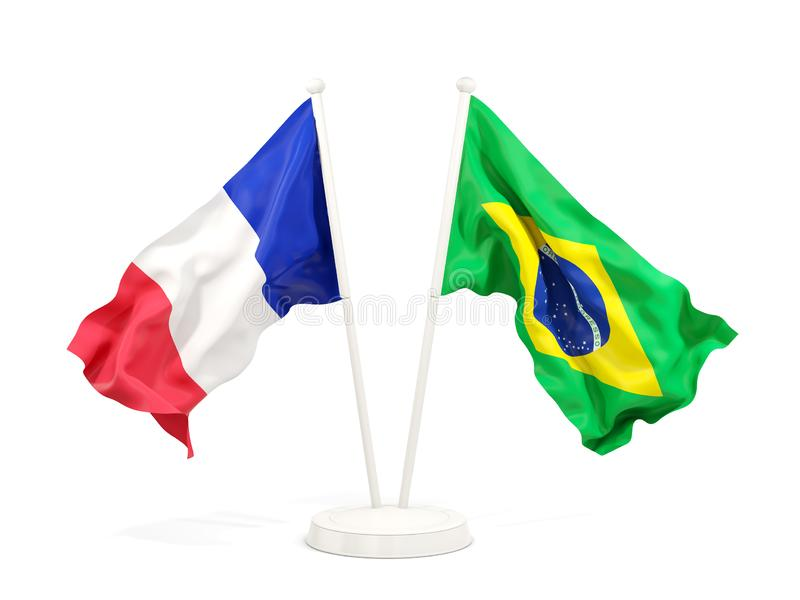 在白色和巴西的隔绝的两面挥动的旗子法国 皇族释放例证