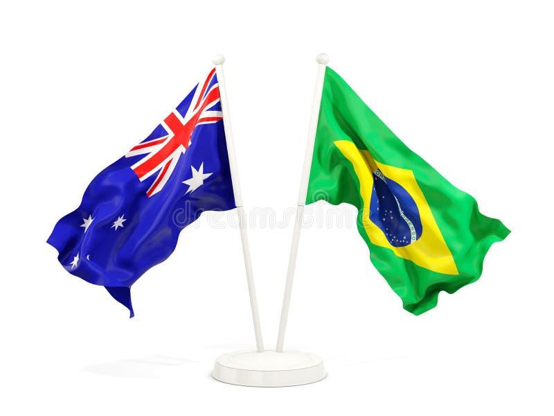 在白色和巴西的隔绝的两面挥动的旗子澳大利亚 向量例证
