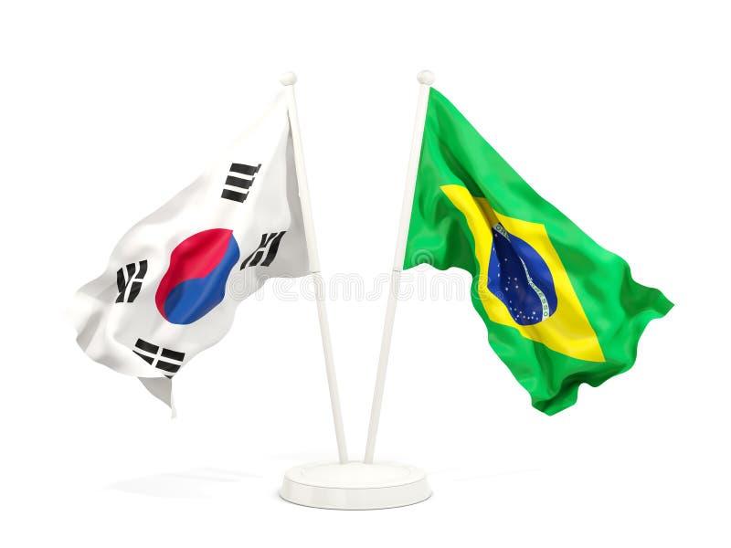 在白色和巴西的隔绝的两面挥动的旗子韩国 皇族释放例证