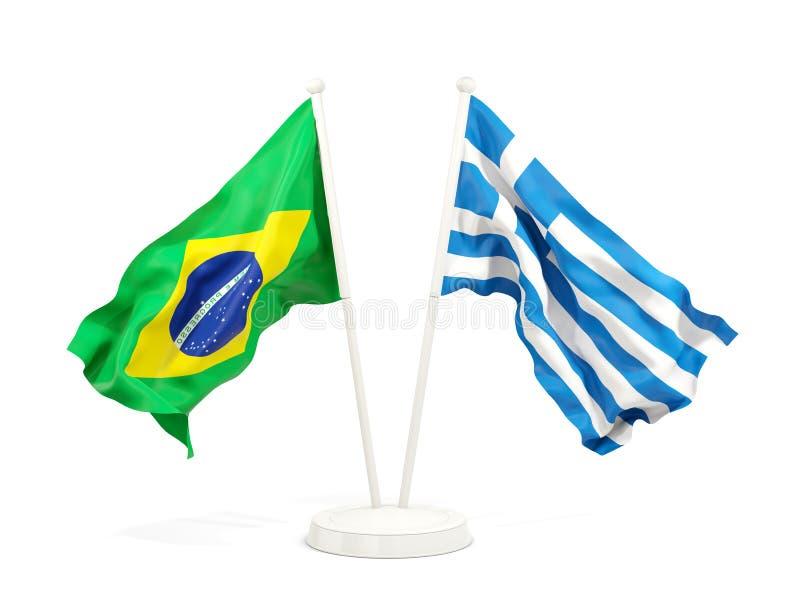 在白色和希腊的隔绝的两面挥动的旗子巴西 皇族释放例证