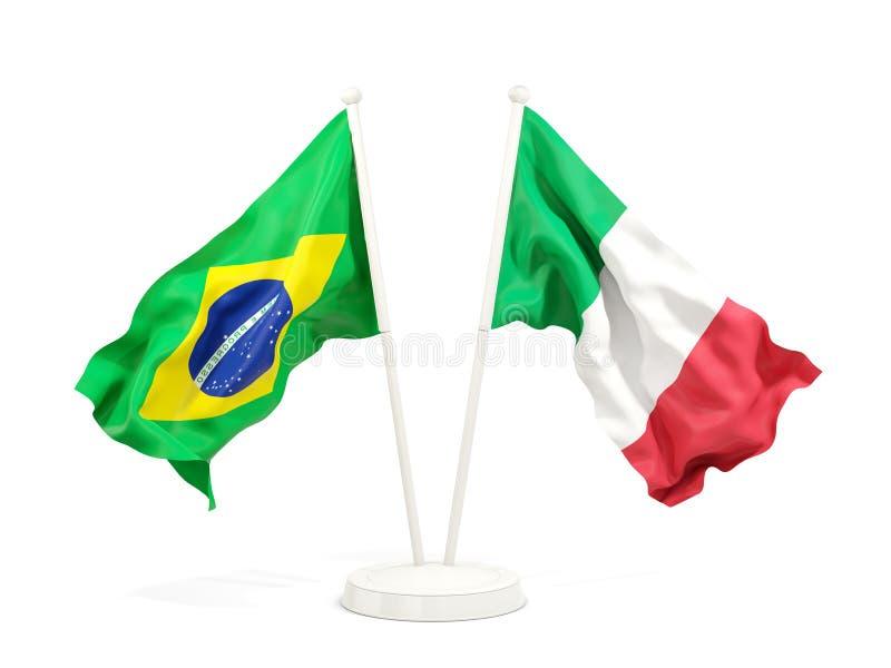 在白色和意大利的隔绝的两面挥动的旗子巴西 向量例证