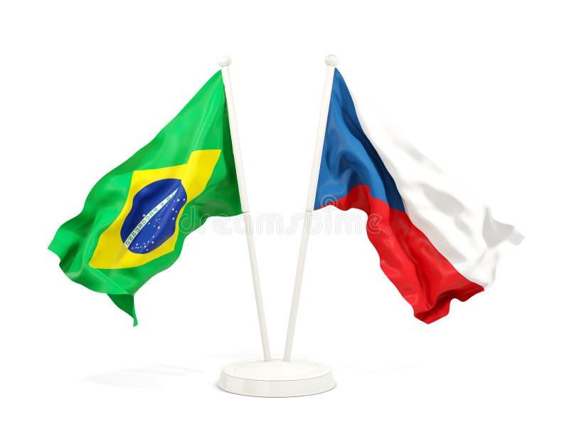 在白色和捷克共和国隔绝的两面挥动的旗子巴西 向量例证