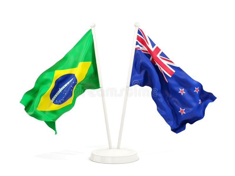 在白色和新西兰的隔绝的两面挥动的旗子巴西 库存例证