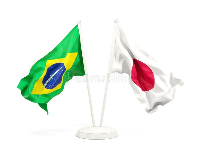 在白色和日本的隔绝的两面挥动的旗子巴西 皇族释放例证
