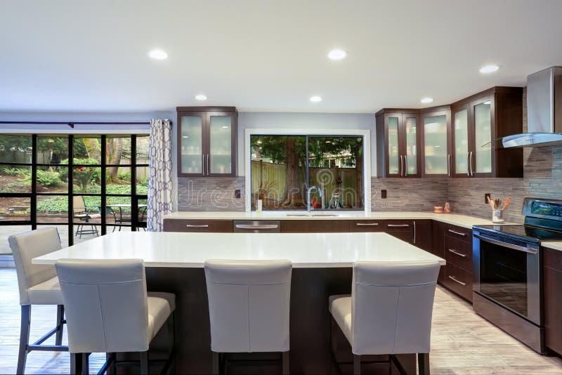 在白色和棕色口气的更新当代厨房室内部 库存照片