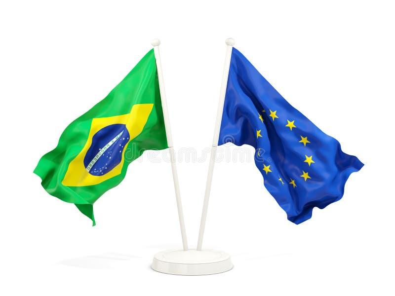 在白色和欧盟隔绝的两面挥动的旗子巴西 向量例证