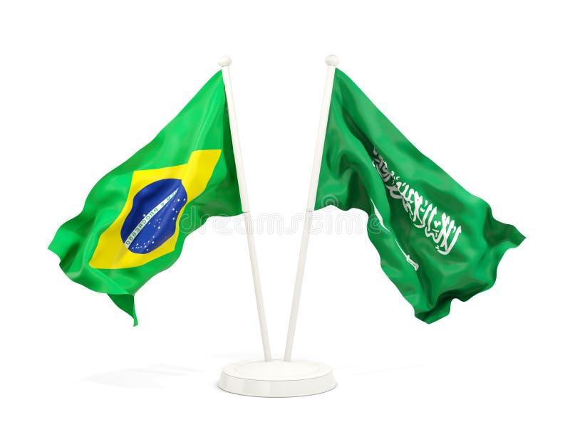 在白色和沙特阿拉伯的隔绝的两面挥动的旗子巴西 皇族释放例证