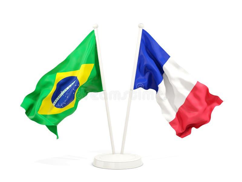 在白色和法国的隔绝的两面挥动的旗子巴西 向量例证