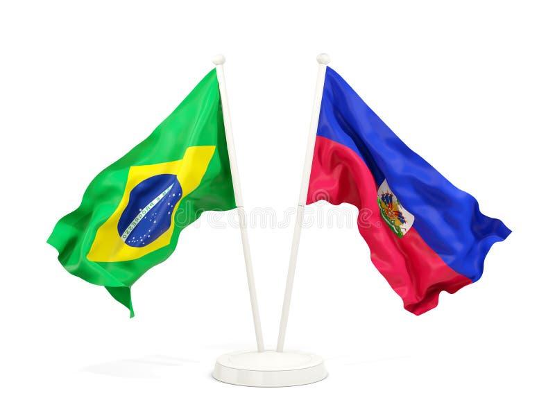 在白色和海地的隔绝的两面挥动的旗子巴西 向量例证