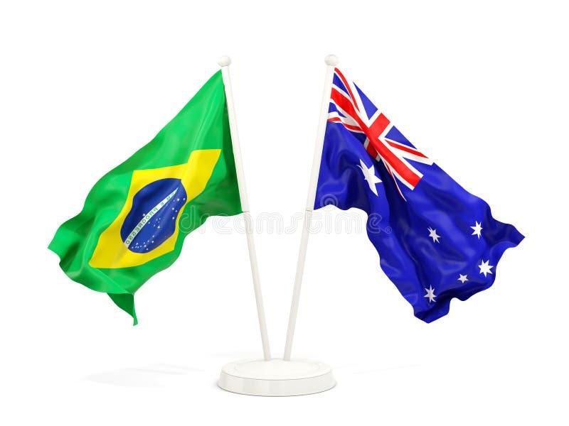 在白色和澳大利亚的隔绝的两面挥动的旗子巴西 向量例证