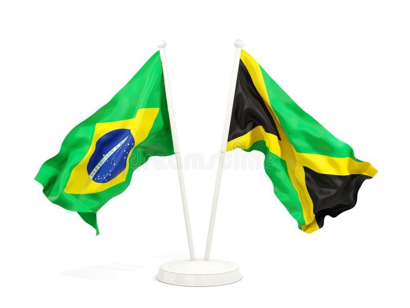 在白色和牙买加的隔绝的两面挥动的旗子巴西 库存例证