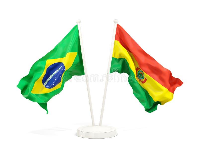 在白色和玻利维亚的隔绝的两面挥动的旗子巴西 库存例证