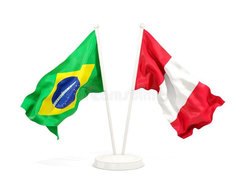 在白色和秘鲁的隔绝的两面挥动的旗子巴西 皇族释放例证