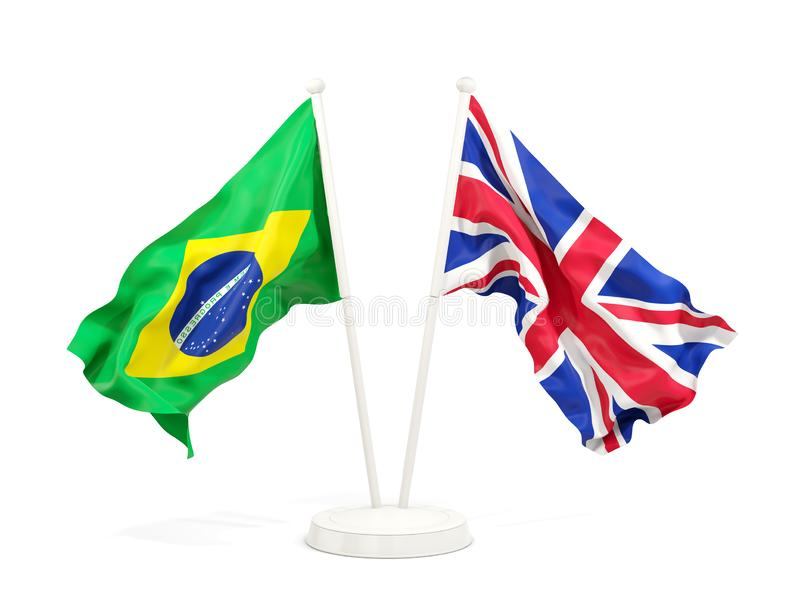 在白色和英国的隔绝的两面挥动的旗子巴西 皇族释放例证