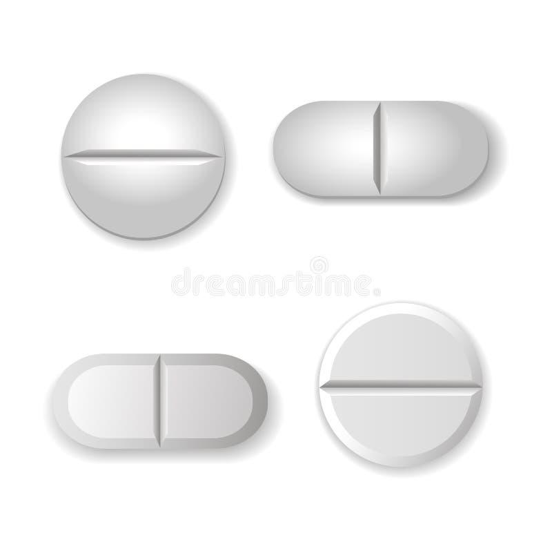 在白色和药片被设置隔绝的片剂 皇族释放例证