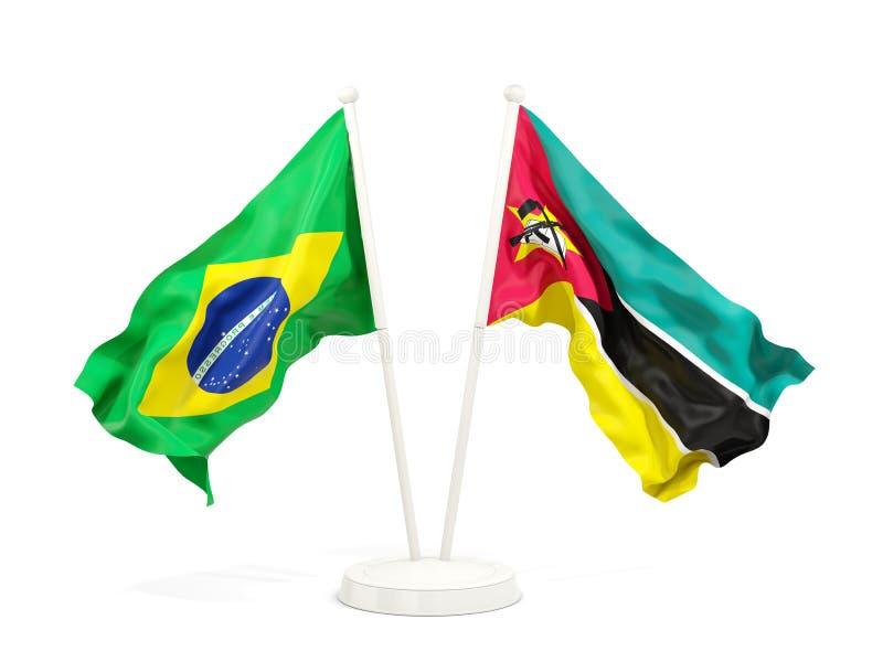 在白色和莫桑比克的隔绝的两面挥动的旗子巴西 向量例证