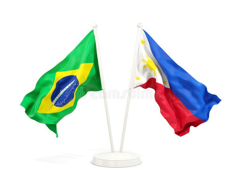 在白色和菲律宾隔绝的两面挥动的旗子巴西 向量例证