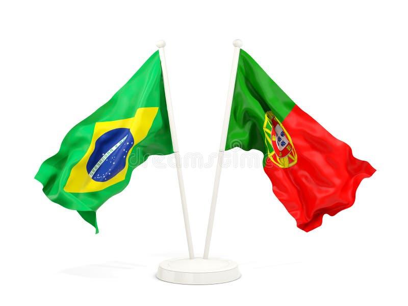在白色和葡萄牙的隔绝的两面挥动的旗子巴西 皇族释放例证