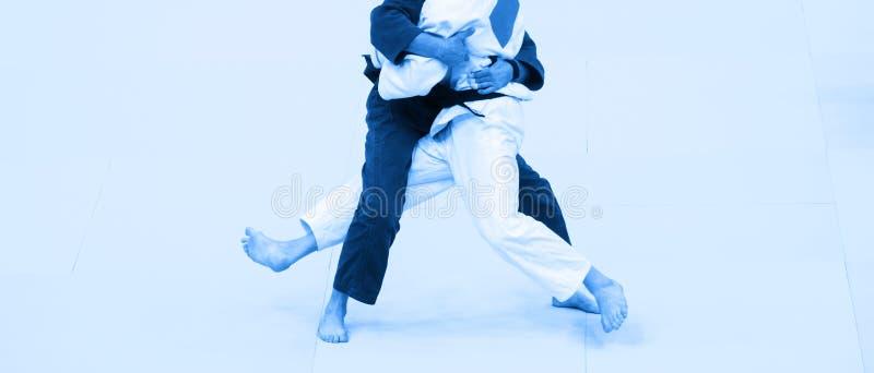 在白色和蓝色制服的两架柔道战斗机 蓝色filtr 库存图片