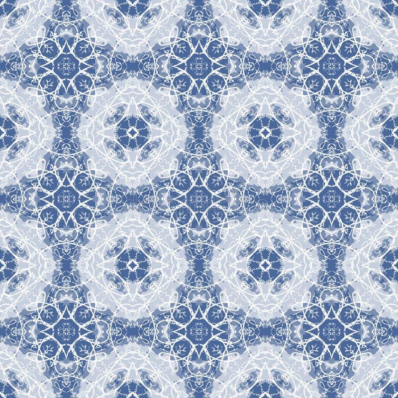 在白色和蓝色的无缝的书法样式 向量例证