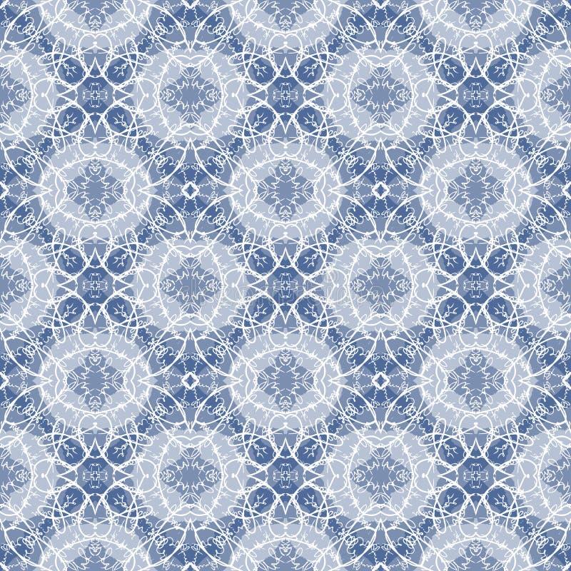 在白色和蓝色的无缝的书法样式 皇族释放例证