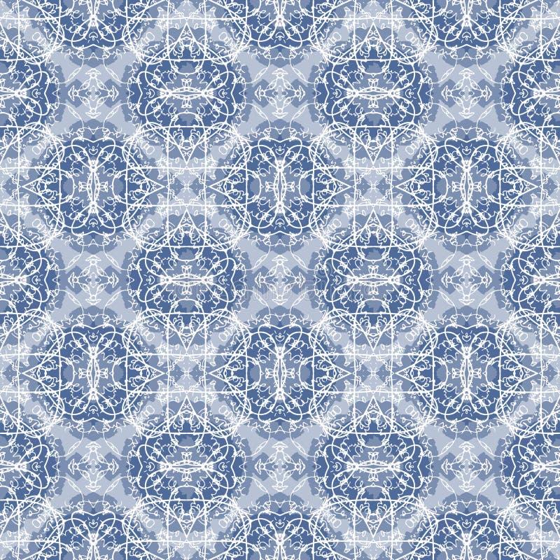 在白色和蓝色的无缝的书法样式 库存例证