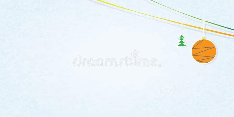 在白色和蓝色背景的例证与粒状纹理、闪亮金属片和圣诞节玩具 向量例证